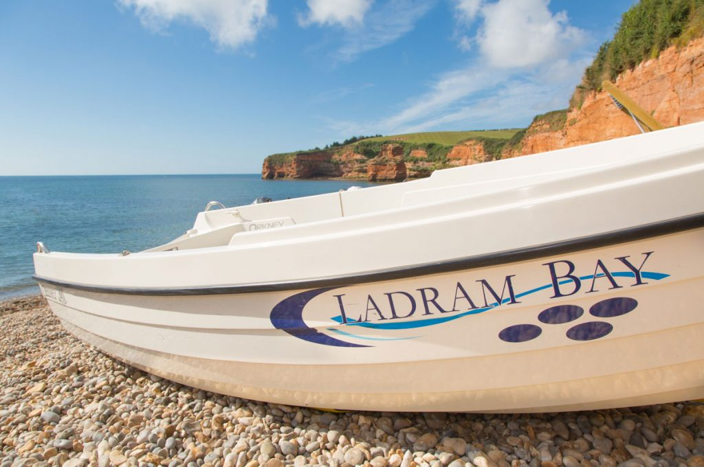 Motor-boat-for-hire-at-Ladram-Bay-East-Devon