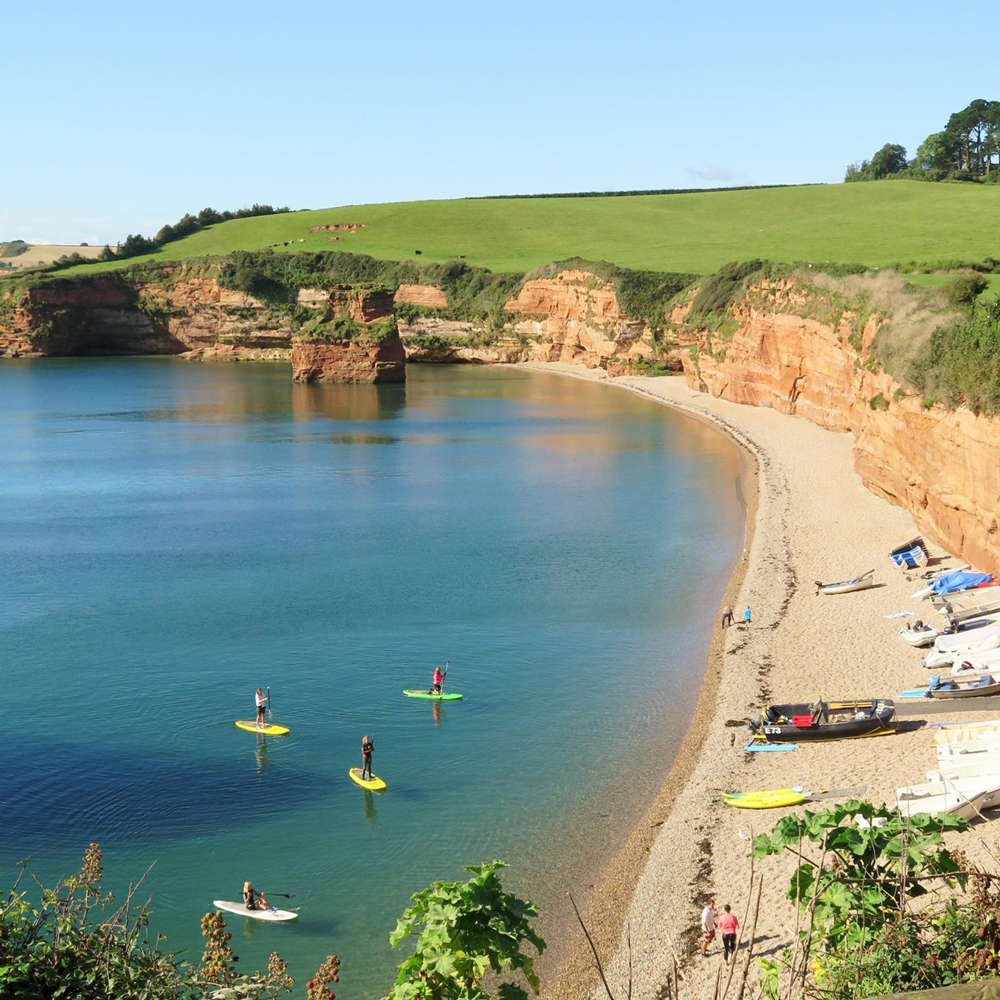 Stand-up-paddling-boarding-in-Ladram-Bay-East-Devon